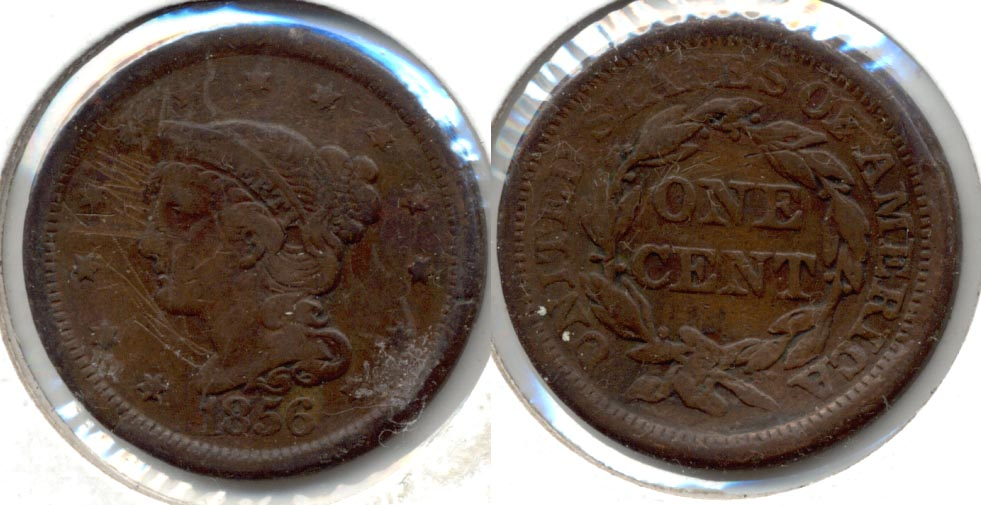 1856 Coronet Large Cent Fine-12 b Scratched