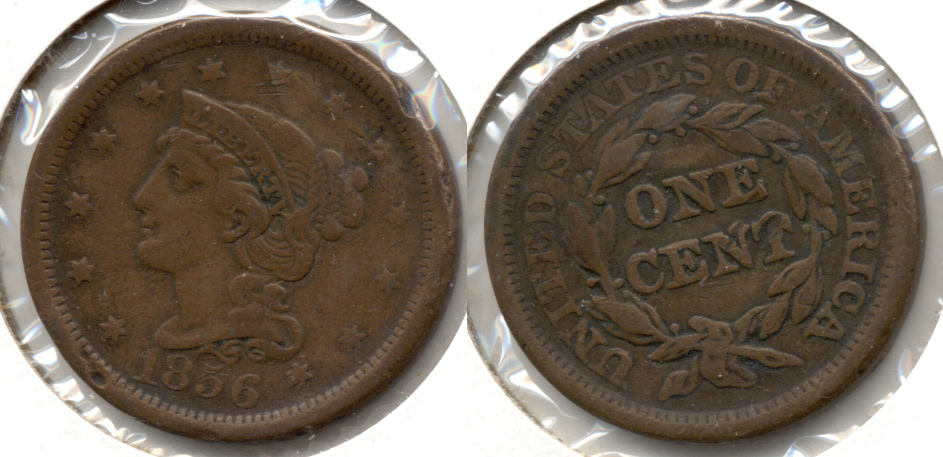 1856 Coronet Large Cent Fine-12 d Rim Bumps
