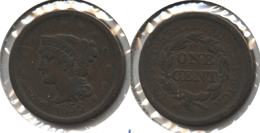 1856 Coronet Large Cent Fine-12 #g Staple Scratch