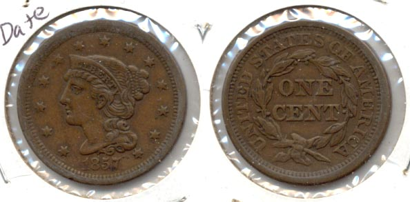 1857 Coronet Large Cent EF-40 a Small Date