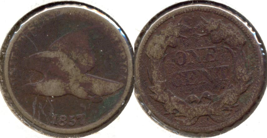 1857 Flying Eagle Cent AG-3 Dark