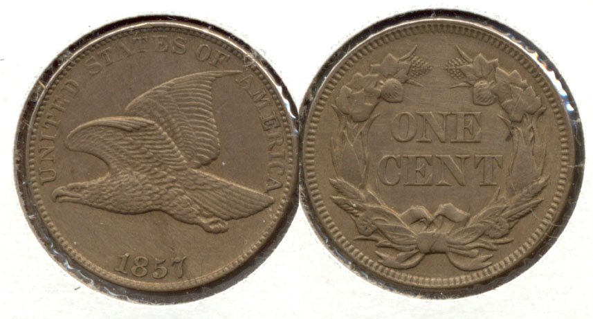 1857 Flying Eagle Cent AU-55 a Cleaned
