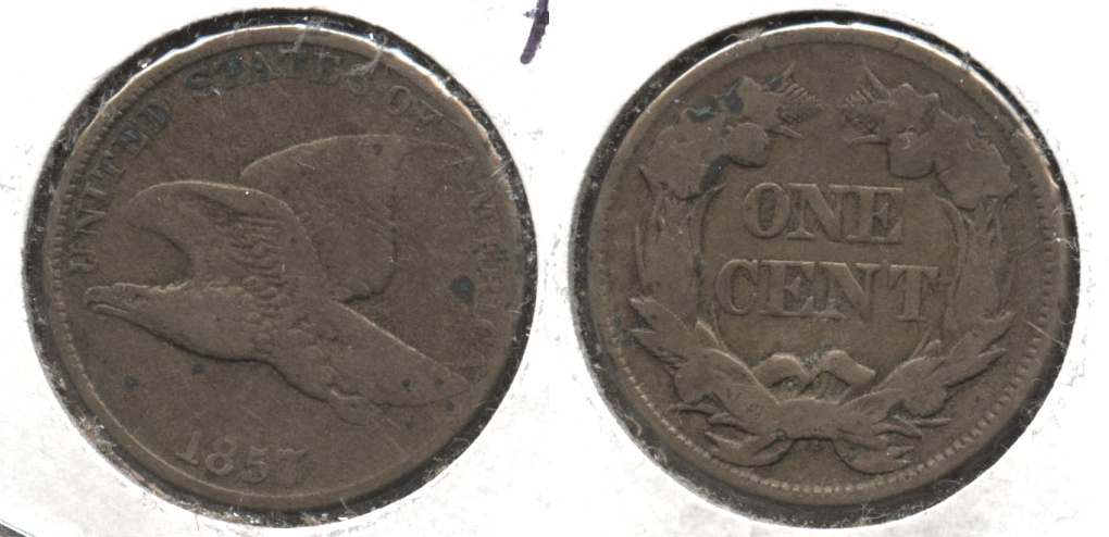 1857 Flying Eagle Cent Fine-12 #q Few Pits