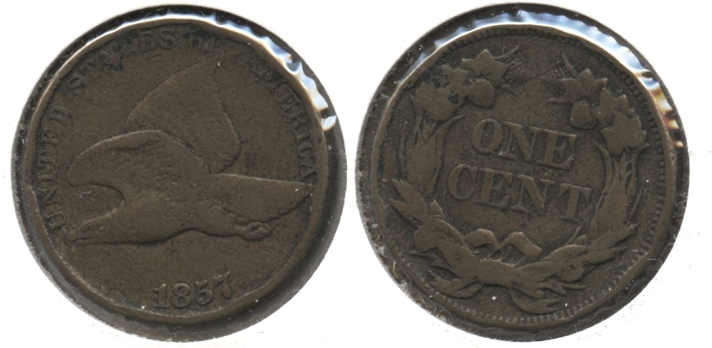 1857 Flying Eagle Cent Fine-12 #r Rim Bumps