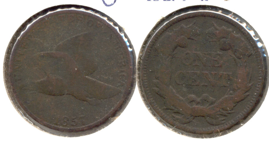 1857 Flying Eagle Cent Good-4 a Dark