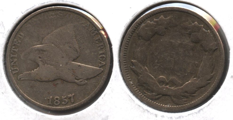 1857 Flying Eagle Cent Good-4 #ak Cleaned