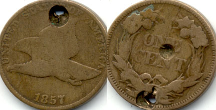 1857 Flying Eagle Cent Good-4 f Holed