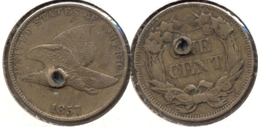1857 Flying Eagle Cent VF-20 c Holed