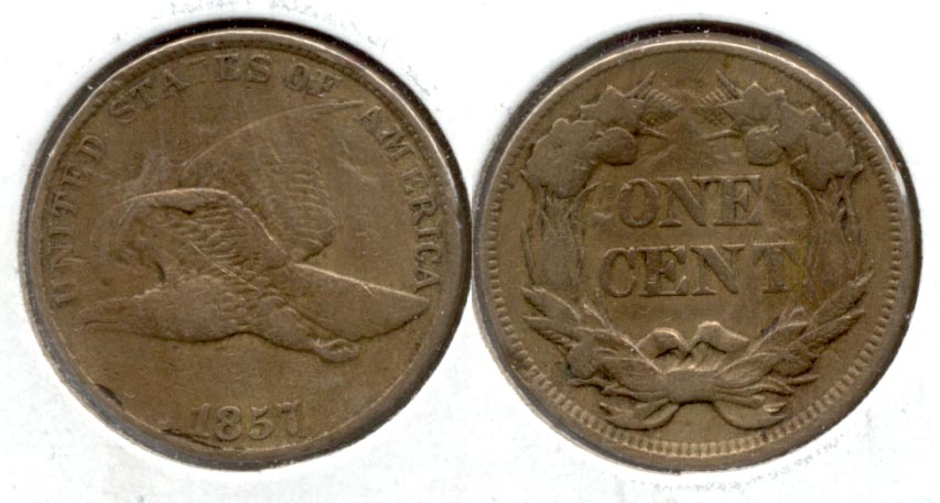 1857 Flying Eagle Cent VF-20 e Obverse Marks