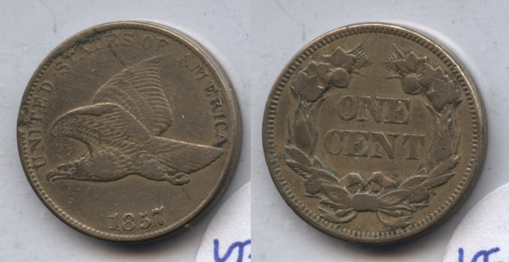 1857 Flying Eagle Cent VF-20 #y Cleaned