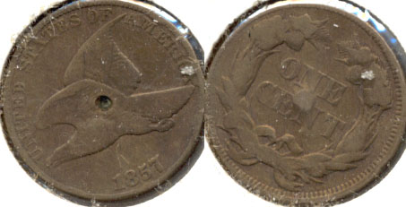 1857 Flying Eagle Cent VG-8 c Obverse Pit