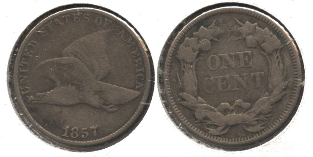 1857 Flying Eagle Cent VG-8 #x Lightly Cleaned