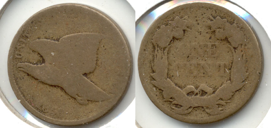 1858 Large Letters Flying Eagle Cent AG-3 a
