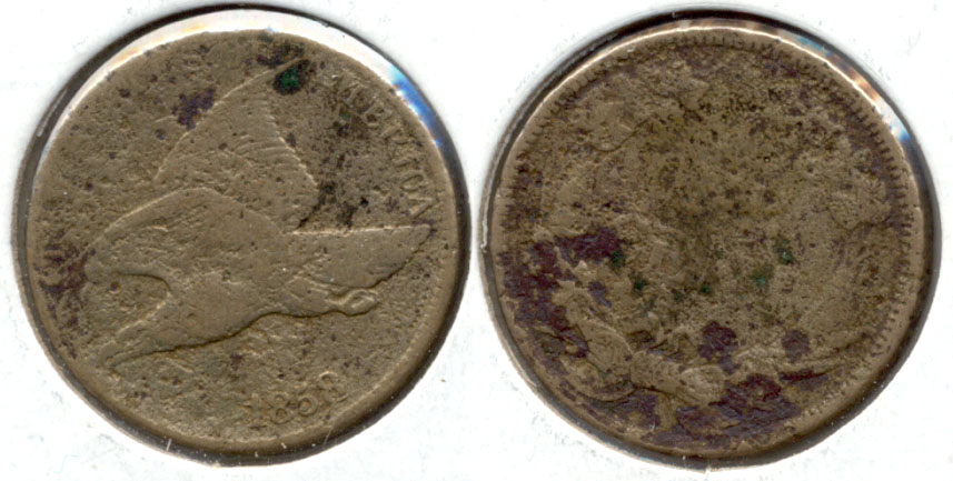 Alaska Coin Exchange Presents the 1858 Large Letters Flying Eagle Cent AG-3 c Porous