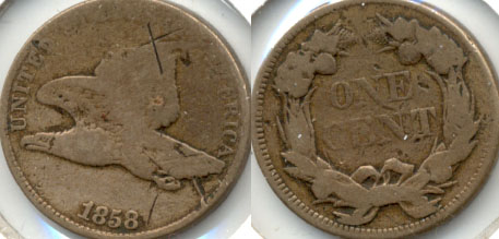 1858 Large Letters Flying Eagle Cent AG-3 d Obverse Cuts