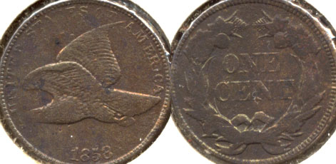 1858 Large Letters Flying Eagle Cent F-12 c Cleaned