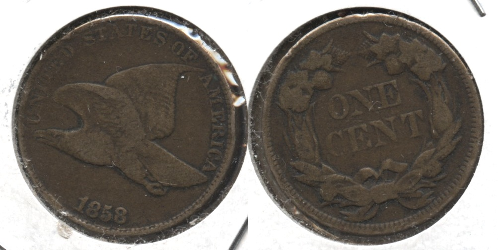 1858 Large Letters Flying Eagle Cent F-12 #p