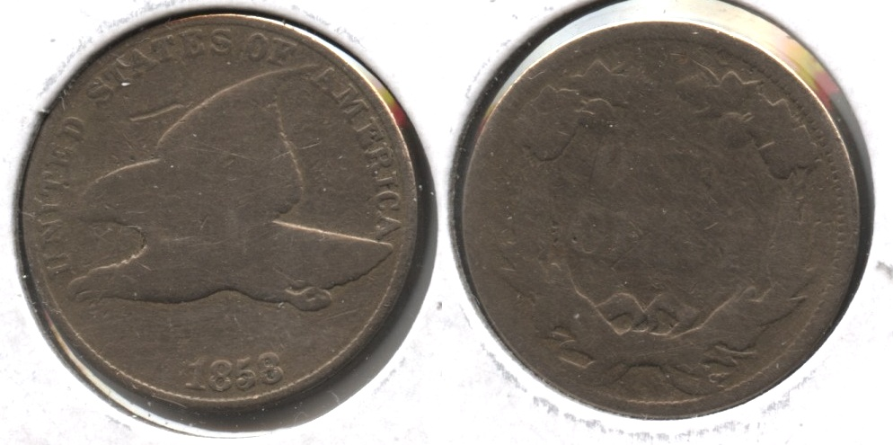 1858 Large Letters Flying Eagle Cent Good-4 #ab Cleaned