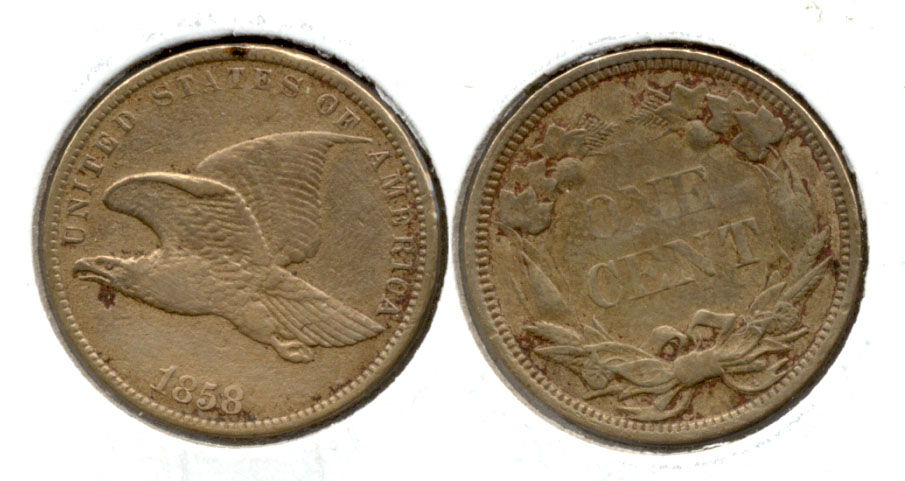 1858 Small Letters Flying Eagle Cent EF-40 Cleaned