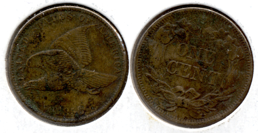 1858 Small Letters Flying Eagle Cent EF-40 c Porous