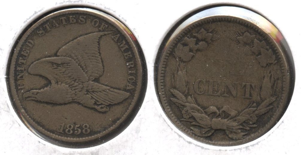 1858 Small Letters Flying Eagle Cent Fine-12 #ab