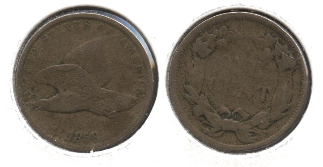 1858 Small Letters Flying Eagle Cent Fine-12 #af