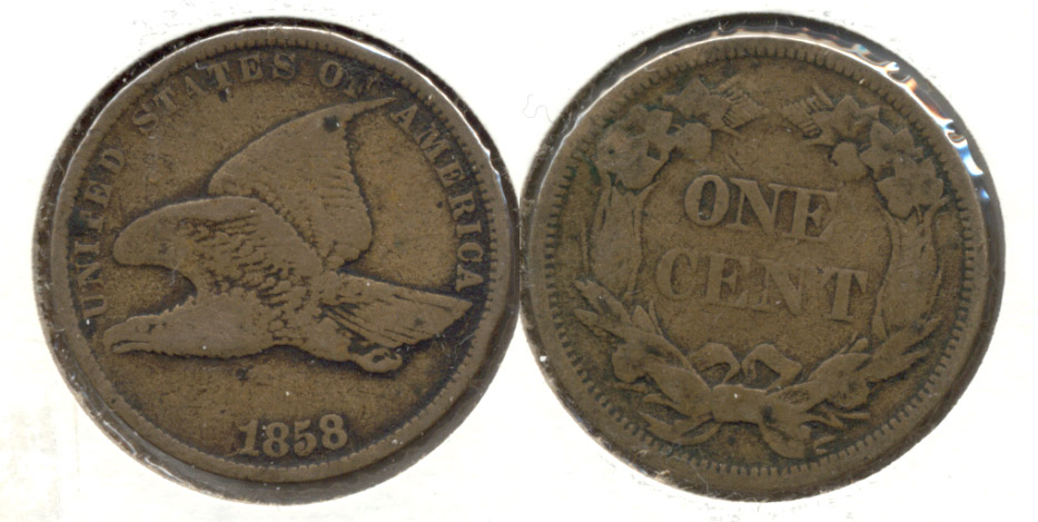 1858 Small Letters Flying Eagle Cent F-12 m