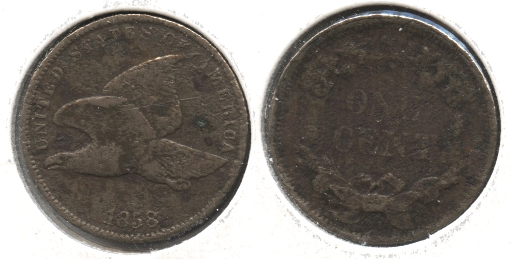 1858 Small Letters Flying Eagle Cent Fine-12 #t Corroded