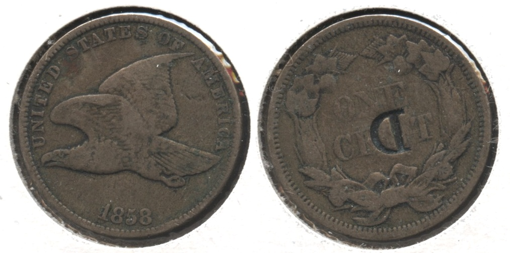 1858 Small Letters Flying Eagle Cent Fine-12 #v Reverse Punch