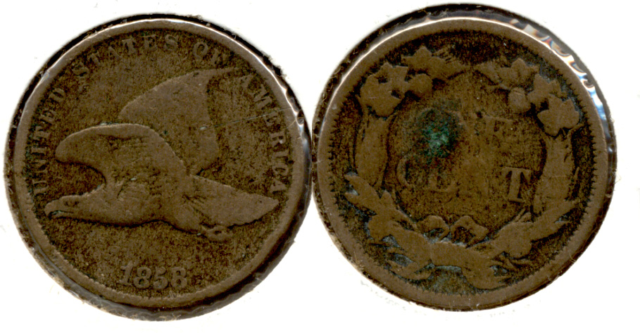 1858 Small Letters Flying Eagle Cent Good-6 Green Reverse