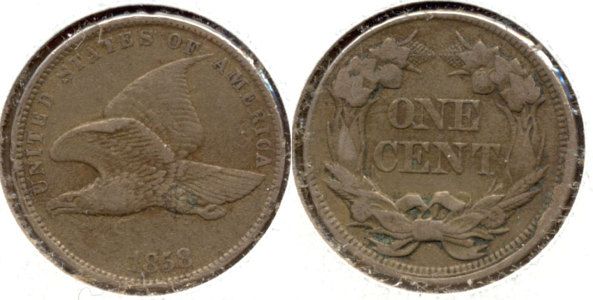 1858 Small Letters Flying Eagle Cent VF-20