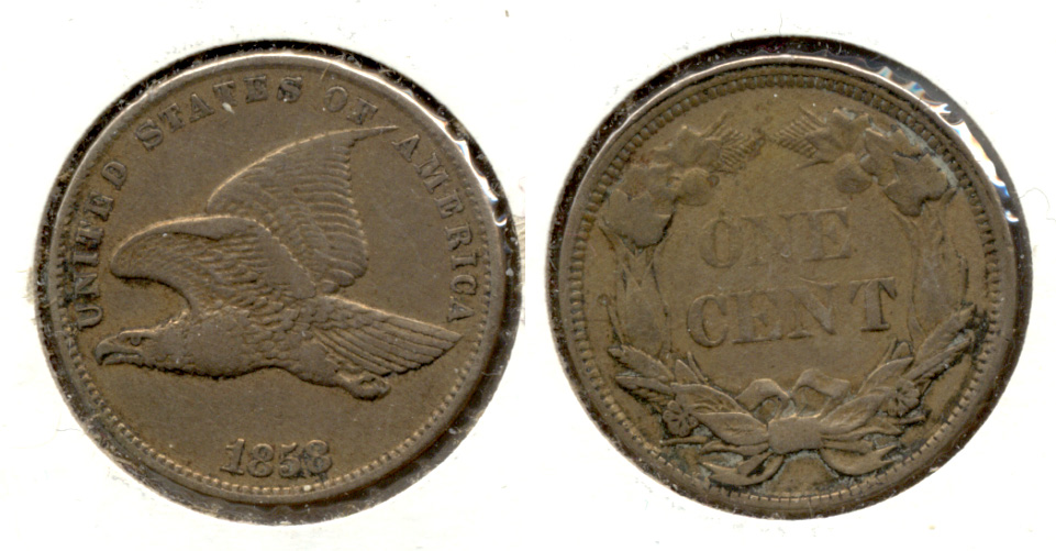 1858 Small Letters Flying Eagle Cent VF-30 a