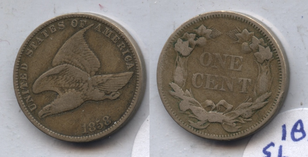 1858 Small Letters Flying Eagle Cent VG-8 #al