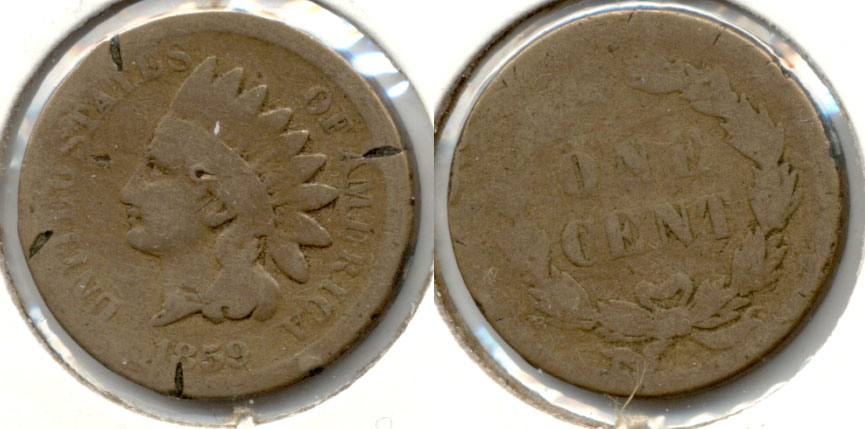 1859 Indian Head Cent AG-3 o Four Cuts