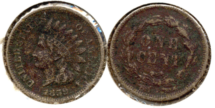 1859 Indian Head Cent Fine-12 a Corrosion