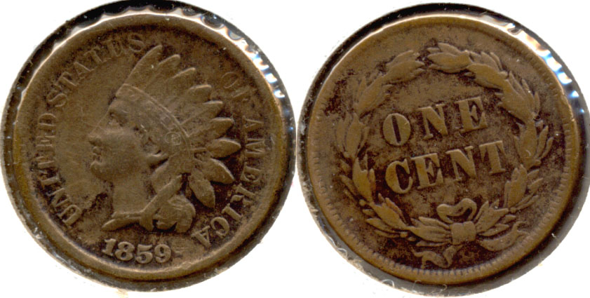 1859 Indian Head Cent Fine-12 e Cleaned Retoned