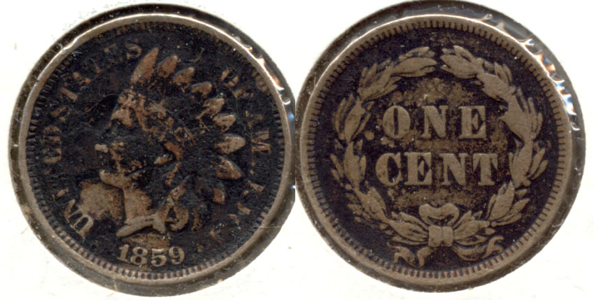 1859 Indian Head Cent Fine-12 h Dark