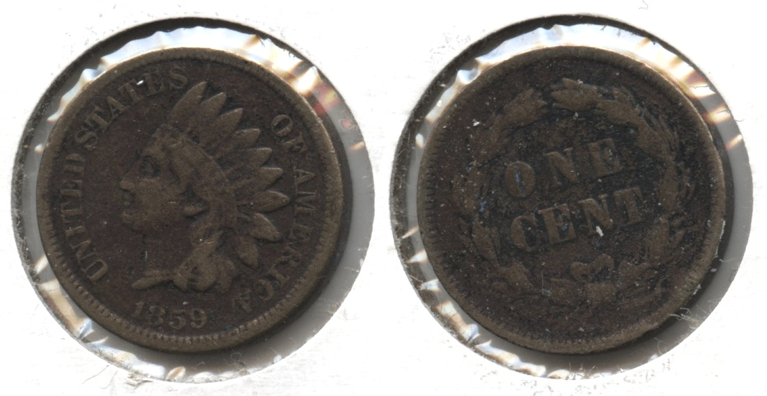 1859 Indian Head Cent Fine-12 #o Dark