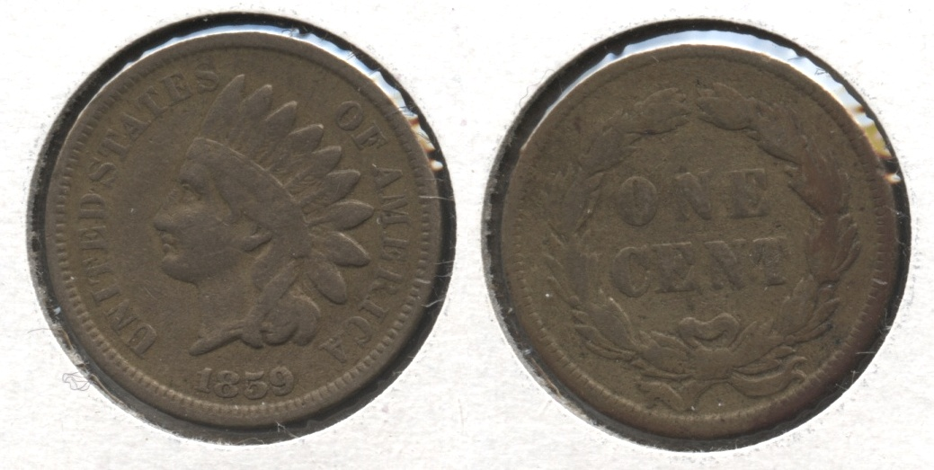 1859 Indian Head Cent Fine-12 #r