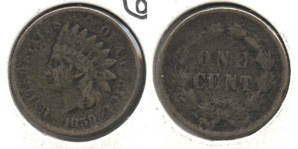 1859 Indian Head Cent Fine-12 #z Pitted