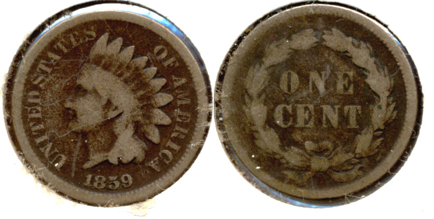 1859 Indian Head Cent Good-4 ab Dark Fields