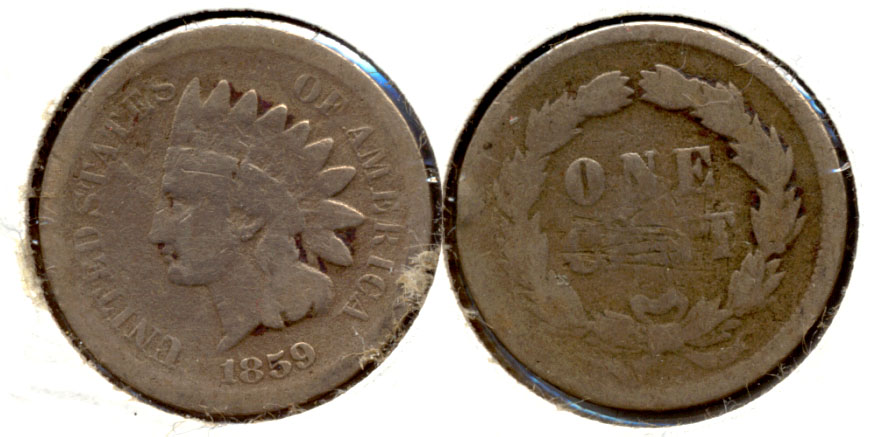 1859 Indian Head Cent Good-4 ar Cleaned Obverse