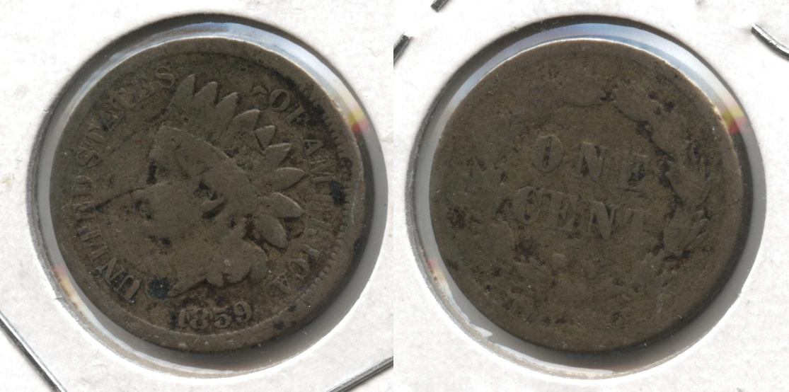 1859 Indian Head Cent Good-4 #db Bit Rough