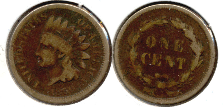 1859 Indian Head Cent Good-4 q Dark