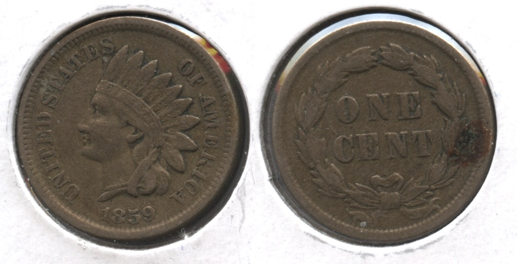 1859 Indian Head Cent VF-20 #n Reverse Spot