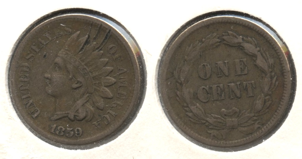 1859 Indian Head Cent VF-20 #p Obverse Scrapes