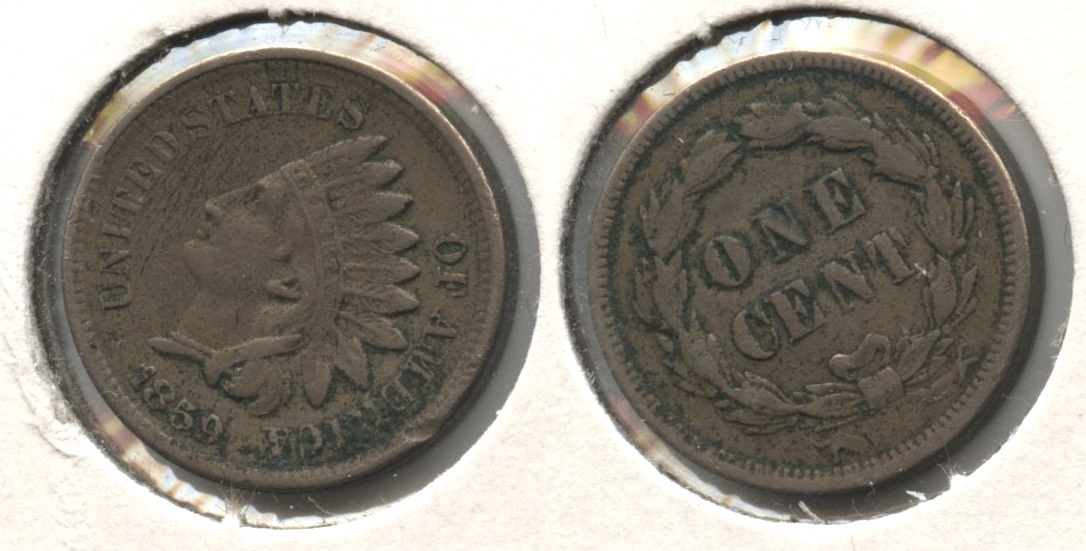 1859 Indian Head Cent VF-20 #r Edge Bump
