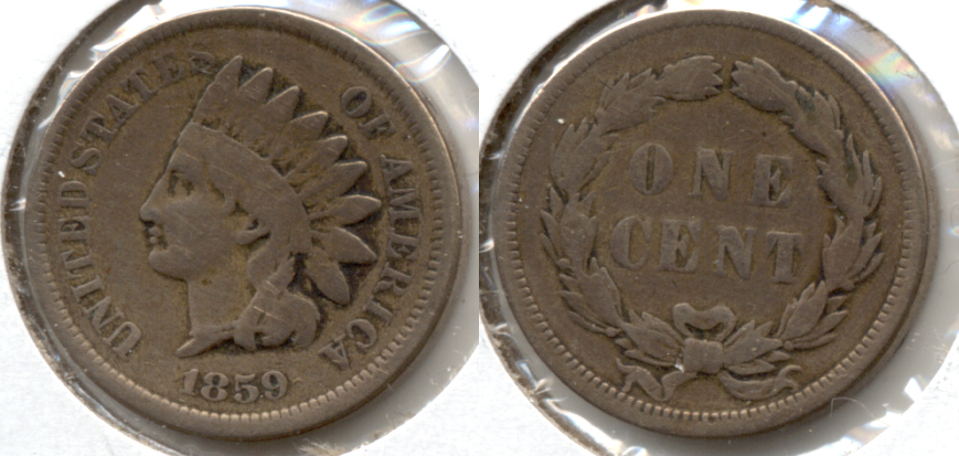 1859 Indian Head Cent VG-8 v Cleaned