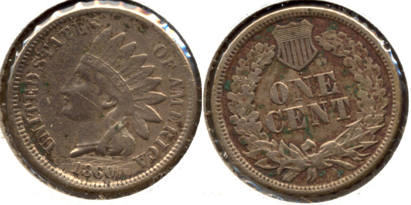 1860 Indian Head Cent Fine-12 a Cleaned Scratched