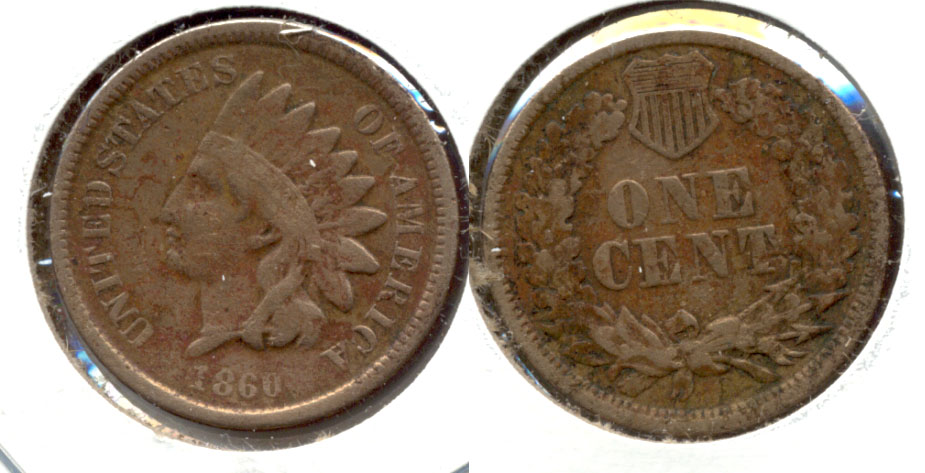 1860 Indian Head Cent Fine-12 c Cleaned